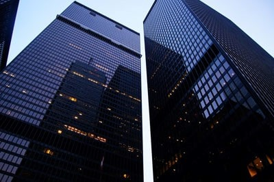 A photograph of two skyscrapers