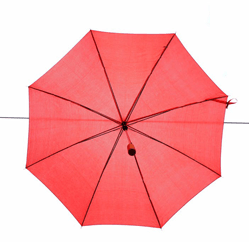 A picture of a red umbrella