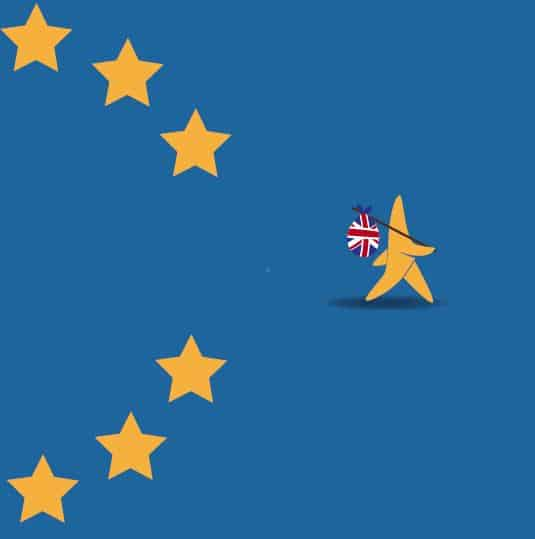 concept of Brexit shown by UK leaving the stars of EU